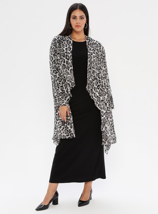 Black - Leopard - Unlined - Crew neck - Shawl Collar - Plus Size Dress