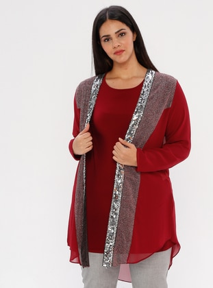 Maroon - Multi - Crew neck - Shawl Collar - Unlined - Plus Size Suit
