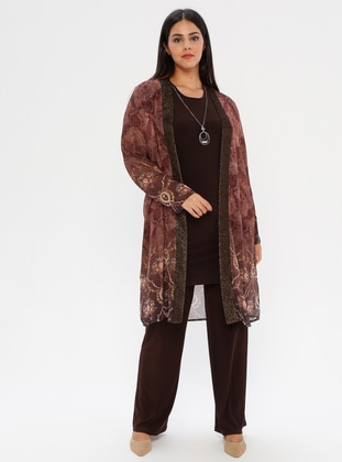 Brown - Multi - Crew neck - Shawl Collar - Unlined - Plus Size Suit