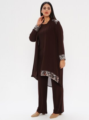 Brown - Crew neck - Shawl Collar - Unlined - Plus Size Suit