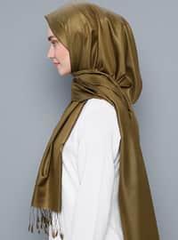 Olive Green - Plain - %100 Silk - Scarf