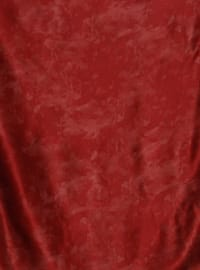 Maroon - Printed - Plain - %100 Silk - Scarf
