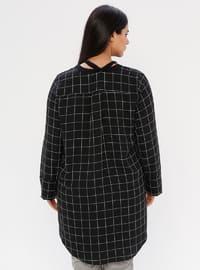 Black - Checkered - Crew neck - Plus Size Blouse