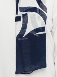 Cream - Navy Blue - Printed - Digital Printing - Shawl
