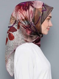 Multi - Printed - %100 Silk - Crepe - Satin - Scarf