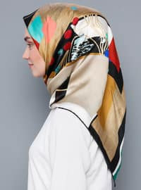Multi - Printed - %100 Silk - Satin - Scarf