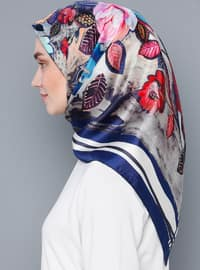 Multi - Floral - %100 Silk - Satin - Scarf
