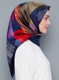 Multi - Printed - %100 Silk - Satin - Scarf