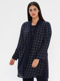 Navy Blue - Checkered - Crew neck - Plus Size Blouse