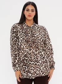 Brown - Leopard - Point Collar - Plus Size Blouse