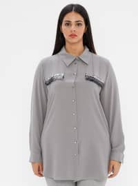 Gray - Point Collar - Plus Size Blouse