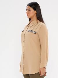 Mustard - Point Collar - Plus Size Blouse