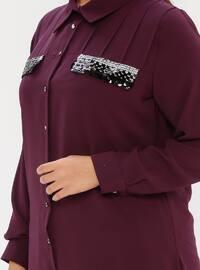 Plum - Point Collar - Plus Size Blouse