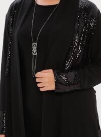 Black - Crew neck - Shawl Collar - Unlined - Plus Size Suit