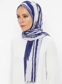 Cream - Navy Blue - Printed - Shawl