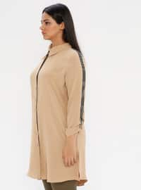 Mustard - Point Collar - Plus Size Blouse