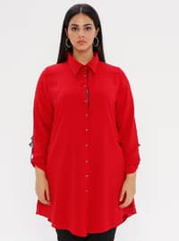 Red - Point Collar - Plus Size Blouse