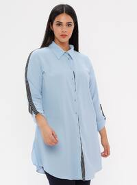 Turquoise - Point Collar - Plus Size Blouse