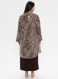 Brown - Leopard - Leopard - Unlined - Crew neck - Shawl Collar - Plus Size Dress