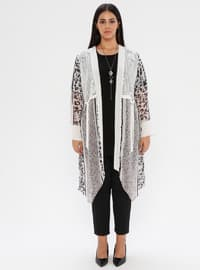 White - Multi - Crew neck - Shawl Collar - Unlined - Plus Size Suit