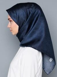 Navy Blue - Plain - %100 Silk - Scarf