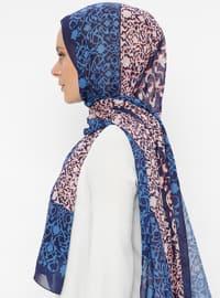Blue - Floral - Printed - Shawl