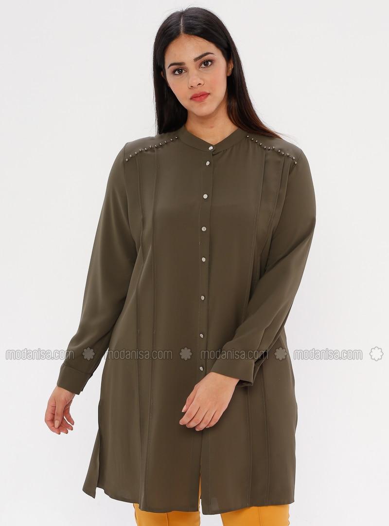 Khaki - Button Collar - Plus Size Blouse