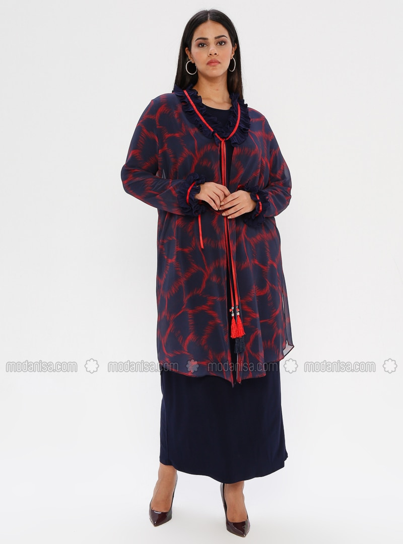 Navy Blue - Multi - Unlined - Crew neck - Shawl Collar - Plus Size Dress