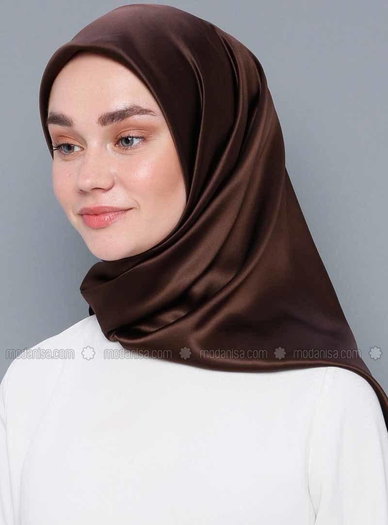 Brown - Plain - %100 Silk - Crepe - Satin - Scarf