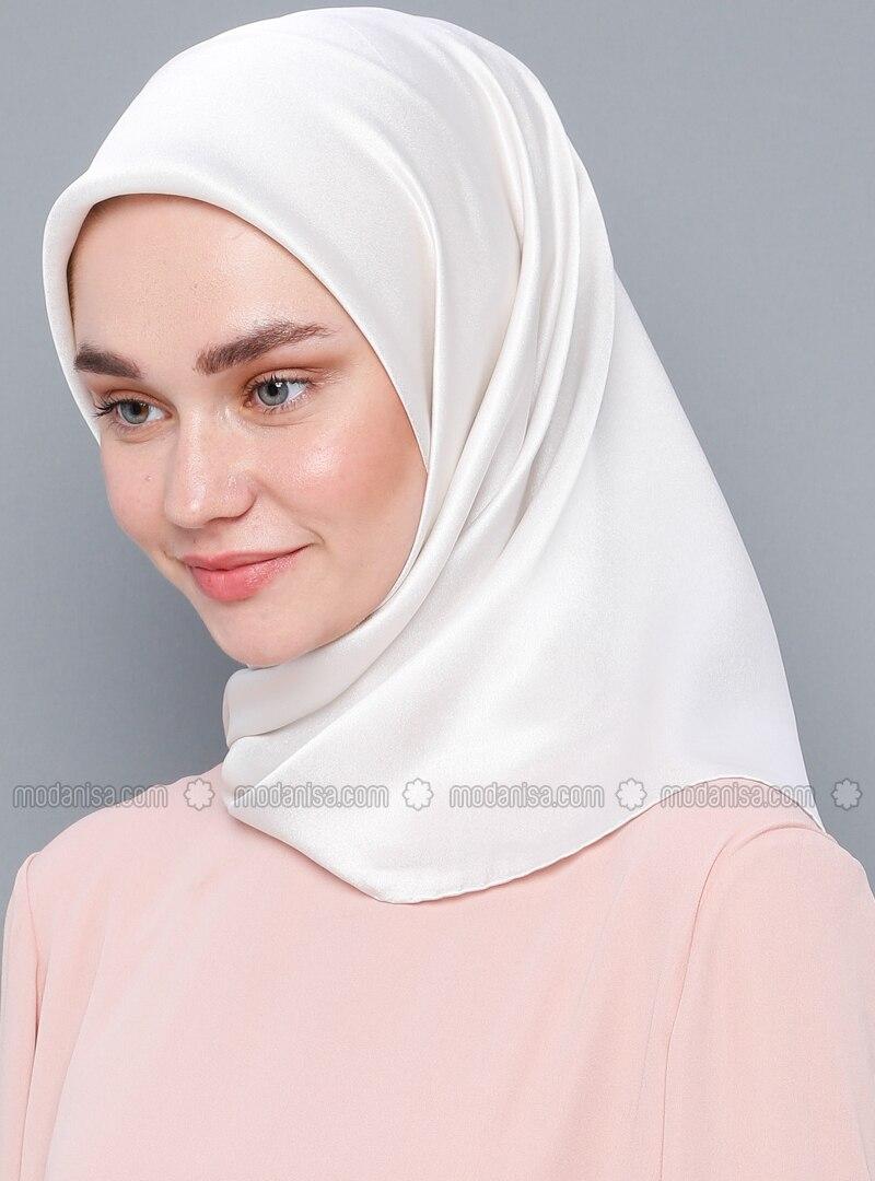 White - Plain - %100 Silk - Crepe - Satin - Scarf