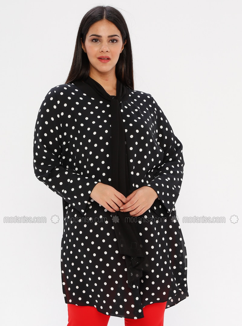 White - Black - Polka Dot - Crew neck - Plus Size Blouse