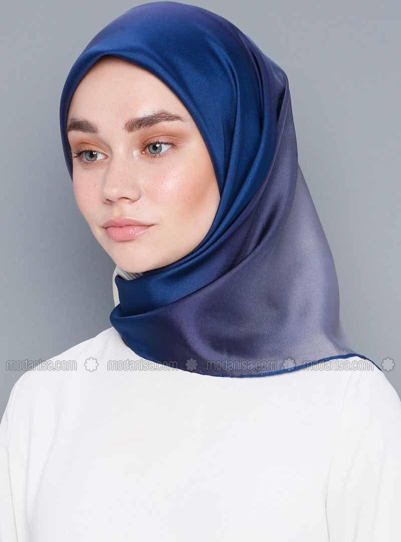 Blue - Plain - %100 Silk - Twill - Scarf