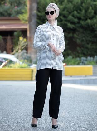 White - Black - Stripe - Point Collar - Viscose - Tunic