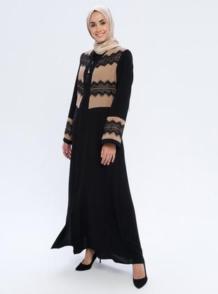 Cream - Black - Unlined - Abaya
