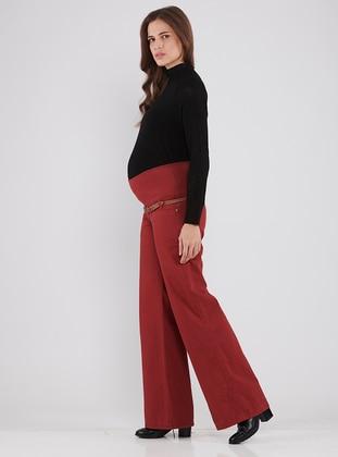 Maroon - Viscose - Maternity Pants