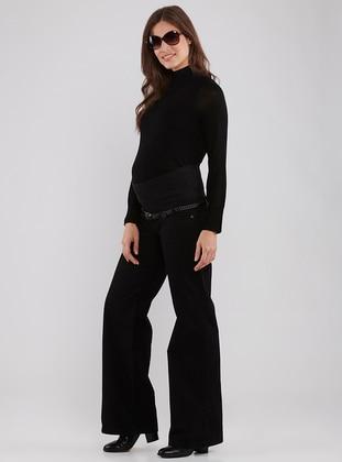 Black - Viscose - Maternity Pants - LYNMAMA