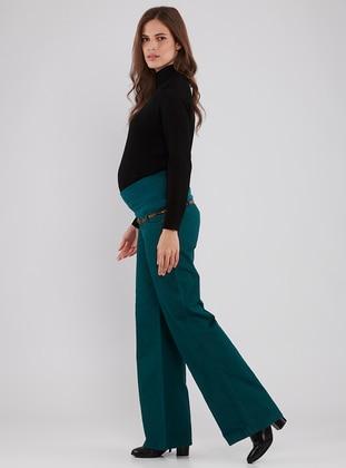 Green - Viscose - Maternity Pants
