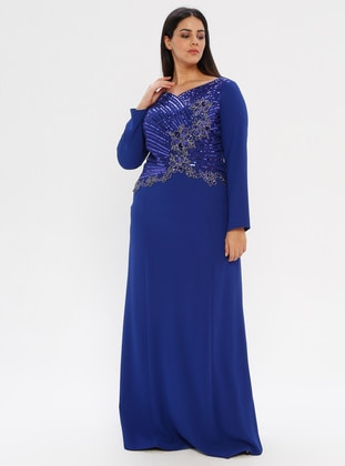 Saxe - Fully Lined - V neck Collar - Muslim Plus Size Evening Dress