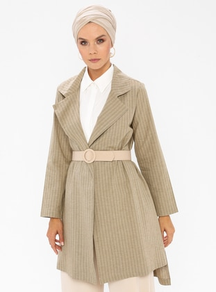 Khaki - Unlined - Shawl Collar -  - Jacket