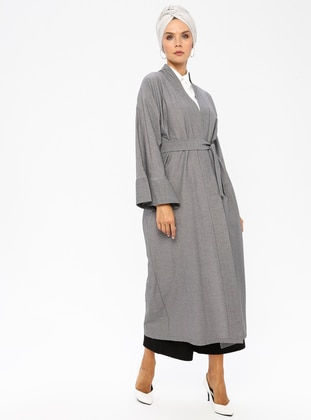 Gray - Geometric - Unlined - Abaya