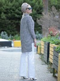 White - Black - Multi - Point Collar - Viscose - Tunic