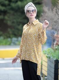Mustard - Multi - Point Collar - Viscose - Tunic