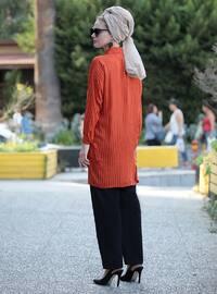 Terra Cotta - Stripe - Point Collar - Viscose - Tunic