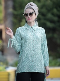 Mint - Floral - Point Collar - Viscose - Tunic
