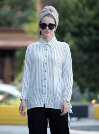 White - Black - Stripe - Point Collar - Viscose - Tunic