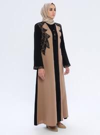 Beige - Noir - Tissu non doublé - Abaya