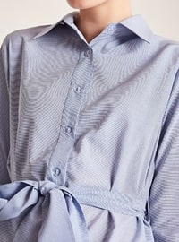 Blue - Point Collar -  - Blouses