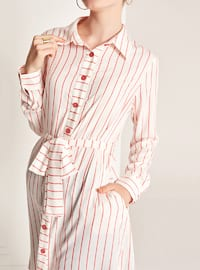 Coral - Stripe - Point Collar -  - Blouses
