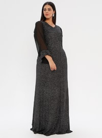 Smoke - Fully Lined - V neck Collar - Muslim Plus Size Evening Dress