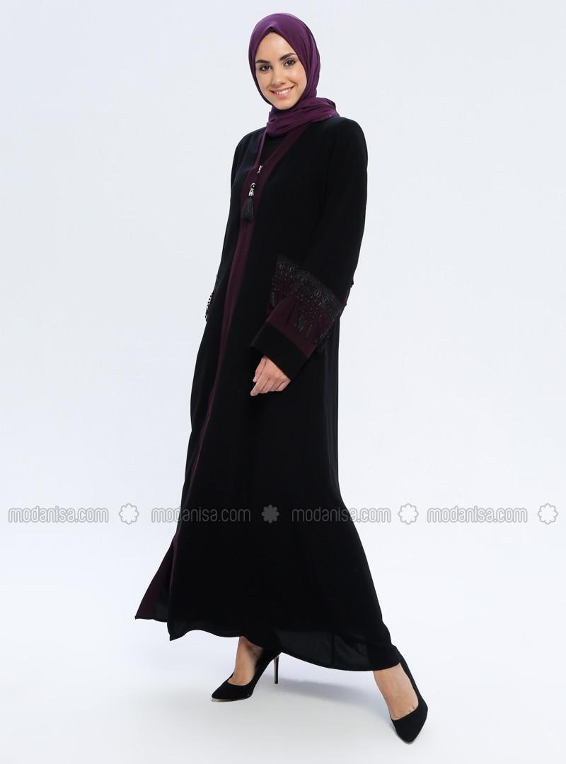 Black - Unlined - V neck Collar - Unlined - V neck Collar - Abaya